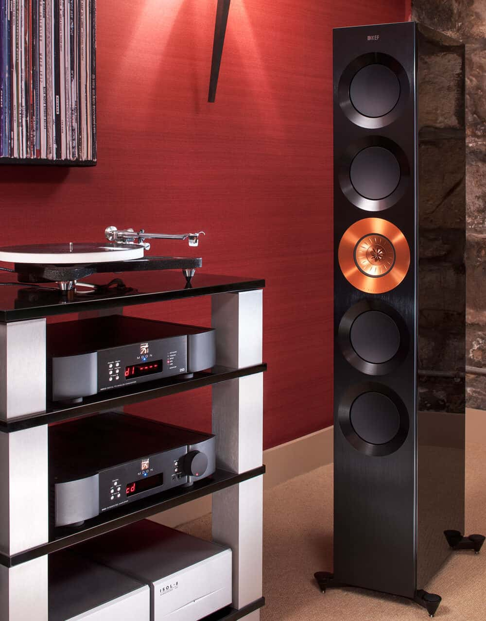 Product photogrpahy at Loud and Clear Hifi in Glasgow. Moon amp, Rega turntable, KEF speakers